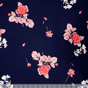 Pink Carnation Floral on Navy Double Brushed Jersey Spandex Blend Knit Fabric
