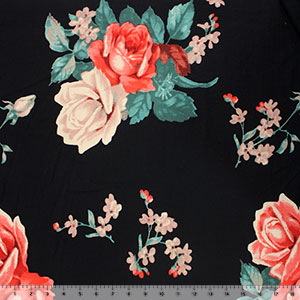 Big Roses on Black Double Brushed Jersey Spandex Blend Knit Fabric