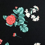 Red Carnation Floral on Black Double Brushed Jersey Spandex Blend Knit Fabric