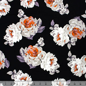 Lilac Gray Roses on Black Double Brushed Jersey Spandex Blend Knit Fabric