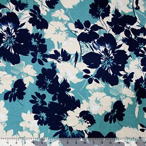 Navy Teal Tropical Floral Silhouettes Double Brushed Jersey Spandex Blend Knit Fabric