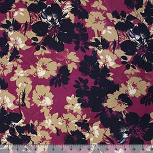 Navy Mulberry Tropical Floral Silhouettes Double Brushed Jersey Spandex Blend Knit Fabric