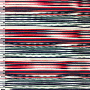 Navy Coral Sage Mini Stripe Modal Cotton Spandex Knit Fabric
