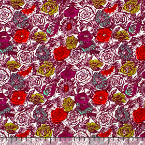 Small Colorful Roses Modal Cotton Spandex Knit Fabric
