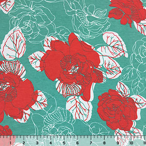 Teal Persimmon Peony Floral Modal Cotton Jersey Knit Fabric