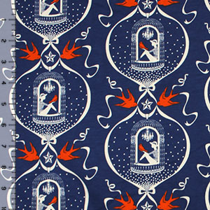 Vintage Birdcage on Blue Modal Cotton Spandex Knit Fabric