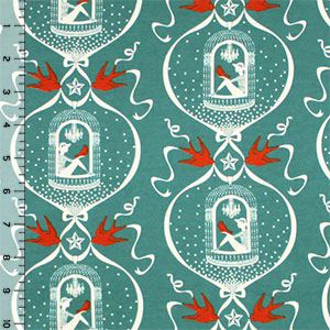 Vintage Birdcage on Green Modal Cotton Spandex Knit Fabric