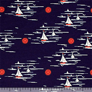 Vintage Sailboats on Navy Modal Cotton Spandex Knit Fabric