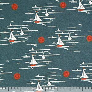 Vintage Sailboats on Aqua Modal Cotton Spandex Knit Fabric