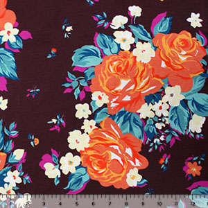 Orange Rose Bouquets on Sangria Modal Cotton Spandex Knit Fabric
