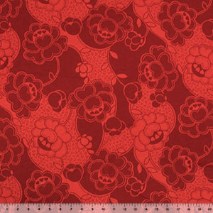 Red Hearts Floral on Red Modal Cotton Jersey Knit Fabric