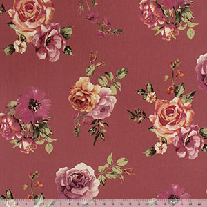 Big Roses on Deep Mauve Double Brushed Jersey Spandex Blend Knit Fabric
