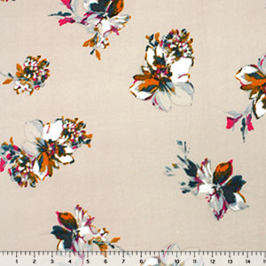 Jewel Floral on Beige Double Brushed Jersey Spandex Blend Knit Fabric