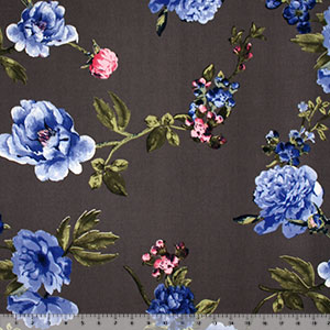 Royal Blue Big Floral on Charcoal Double Brushed Jersey Spandex Blend Knit Fabric