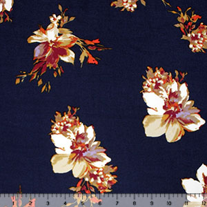9b23adf897b Jewel Floral on Navy Double Brushed Jersey Spandex Blend Knit Fabric -