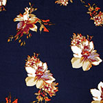 Jewel Floral on Navy Double Brushed Jersey Spandex Blend Knit Fabric
