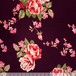 Big Roses on Boysenberry Double Brushed Jersey Spandex Blend Knit Fabric