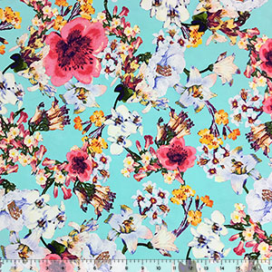 Technicolor Floral on Aqua Blue Cotton Spandex Knit Fabric