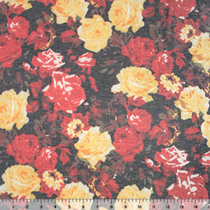 Red Yellow Vintage Floral on Charcoal Spun Jersey Spandex Blend Knit Fabric
