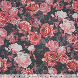 Pink Vintage Floral on Charcoal Spun Jersey Spandex Blend Knit Fabric