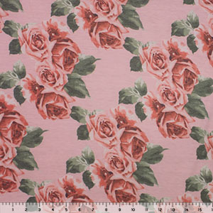 Red Vintage Roses on Blush Spun Jersey Spandex Blend Knit Fabric
