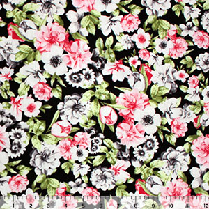 Gray Coral Pink Floral on Black Cotton Spandex Knit Fabric