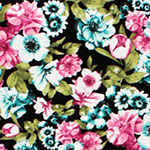 Teal Green Fuchsia Pink Floral on Black Cotton Spandex Knit Fabric