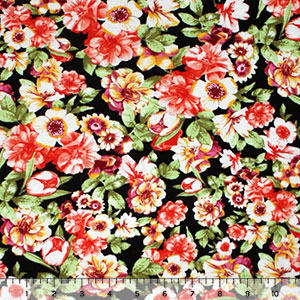 Coral Orange Mustard Violet Floral on Black Cotton Spandex Knit Fabric