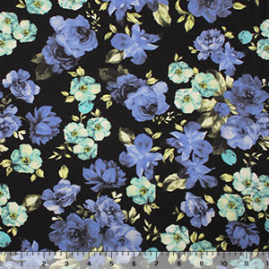 Vintage Blue Aqua Floral on Black Cotton Spandex Knit Fabric