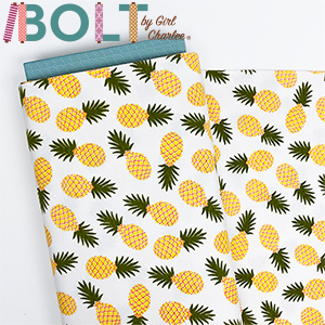10 Yard Bolt Pineapples on White Cotton Spandex Knit Fabric