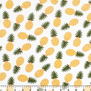 Pineapples on White Cotton Spandex Knit Fabric