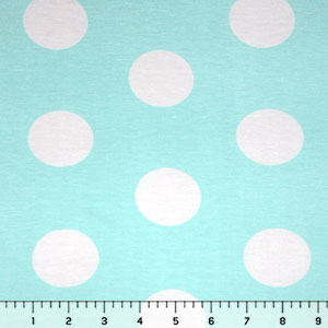 Big Dot on Aqua Blue Cotton Spandex Blend Knit Fabric