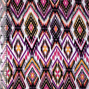 Pink Mustard Ikat on White Cotton Spandex Knit Fabric