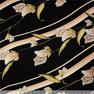 Golden Mod Stripe Floral on Black Siro Rayon Spandex Blend Knit Fabric
