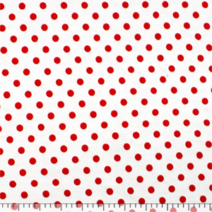 Red Dots on White Cotton Spandex Blend Knit Fabric