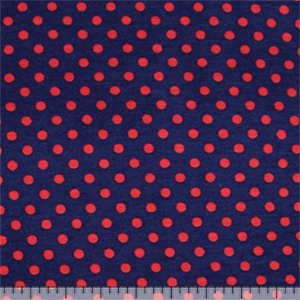 Red Dots on Navy Blue Cotton Spandex Blend Knit Fabric