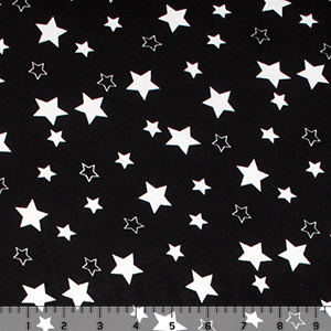 White Stars on Black Cotton Spandex Blend Knit Fabric