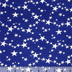 White Stars on Royal Blue Cotton Spandex Blend Knit Fabric