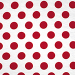 Fiery Red Dots on White Cotton Spandex Blend Knit Fabric