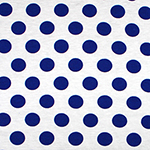 Royal Blue Dots on White Cotton Spandex Blend Knit Fabric