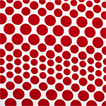 Fiery Red Variegated Dots on White Cotton Spandex Blend Knit Fabric