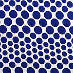 Royal Blue Variegated Dots on White Cotton Spandex Blend Knit Fabric