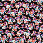 Bitsy Peach Purple Floral on Black Cotton Spandex Blend Knit Fabric