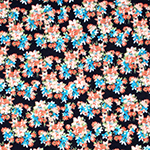 Bitsy Peach Coral Floral on Black Cotton Spandex Blend Knit Fabric