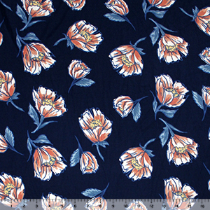 Marsala Mandevilla Floral on Navy Double Brushed Jersey Spandex Blend Knit Fabric