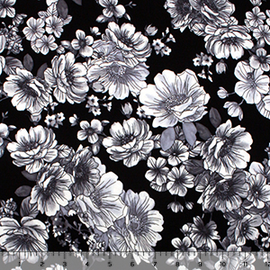 Grayscale Floral on Black Cotton Spandex Knit Fabric