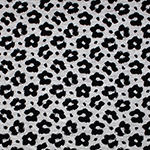 Black Cheetah on Heather Gray Cotton Spandex Blend Knit Fabric
