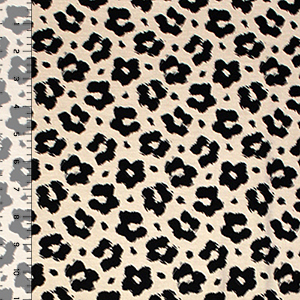 Black Cheetah on Beige Cotton Spandex Blend Knit Fabric
