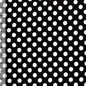 White Dots on Black Cotton Spandex Blend Knit Fabric