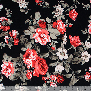 Red Coral Taupe Floral on Black Spun Jersey Spandex Blend Knit Fabric
